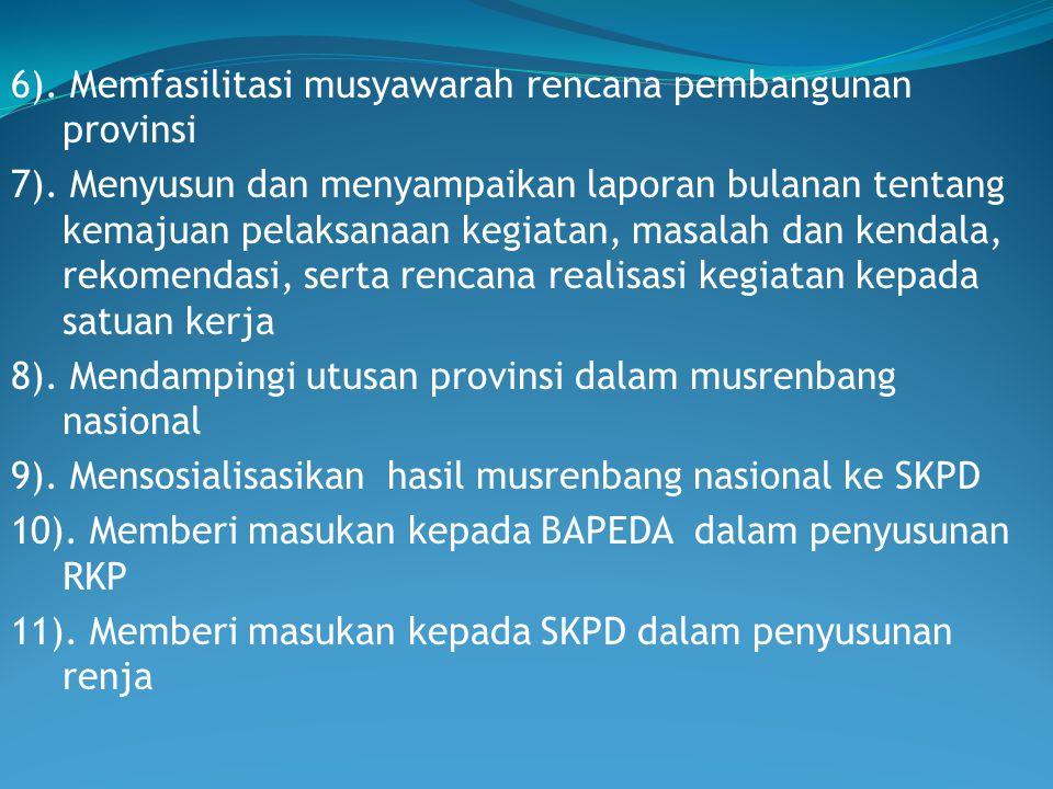 6). Memfasilitasi musyawarah rencana pembangunan provinsi 7). Menyusun dan menyampaikan laporan bulanan tentang kemajuan pelaksanaan kegiatan, masalah