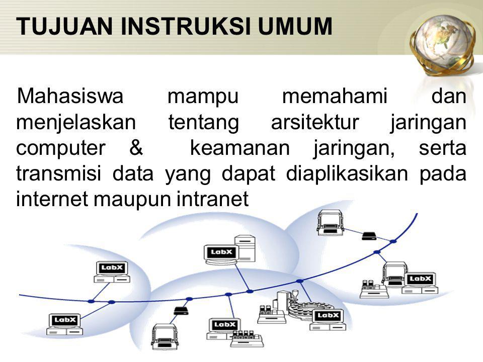 TUJUAN INSTRUKSI UMUM Mahasiswa mampu memahami dan menjelaskan tentang arsitektur jaringan computer & keamanan jaringan, serta transmisi data yang dapat diaplikasikan pada internet maupun intranet