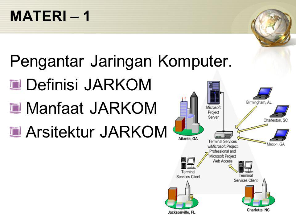 MATERI – 1 Pengantar Jaringan Komputer. Definisi JARKOM Manfaat JARKOM Arsitektur JARKOM