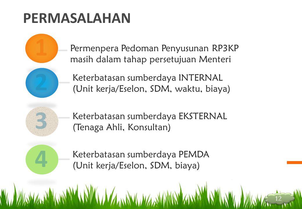 PERMASALAHAN 1 2 Permenpera Pedoman Penyusunan RP3KP masih dalam tahap persetujuan Menteri Keterbatasan sumberdaya INTERNAL (Unit kerja/Eselon, SDM, w