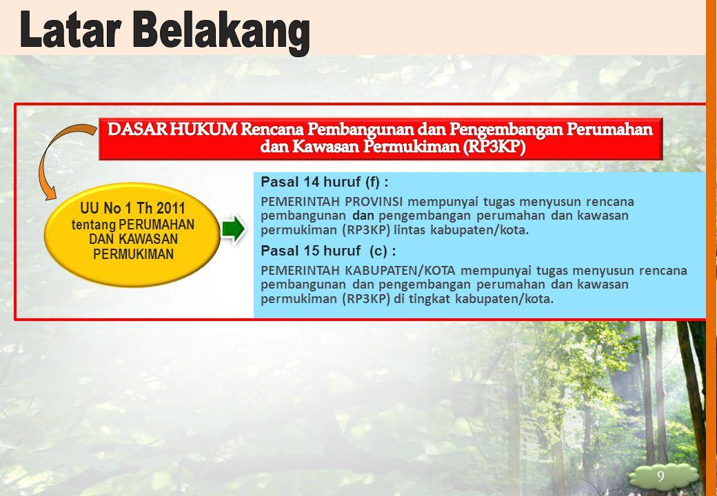 UU No 1 Th 2011 tentang PERUMAHAN DAN KAWASAN PERMUKIMAN Pasal 14 huruf (f) : PEMERINTAH PROVINSI mempunyai tugas menyusun rencana pembangunan dan pen