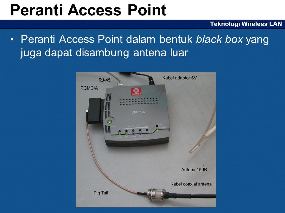 Teknologi Wireless LAN Peranti Access Point dalam bentuk black box yang juga dapat disambung antena luar Peranti Access Point