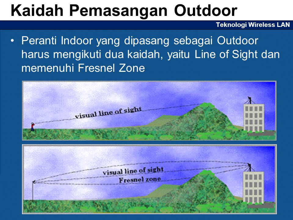 Teknologi Wireless LAN Peranti Indoor yang dipasang sebagai Outdoor harus mengikuti dua kaidah, yaitu Line of Sight dan memenuhi Fresnel Zone Kaidah P