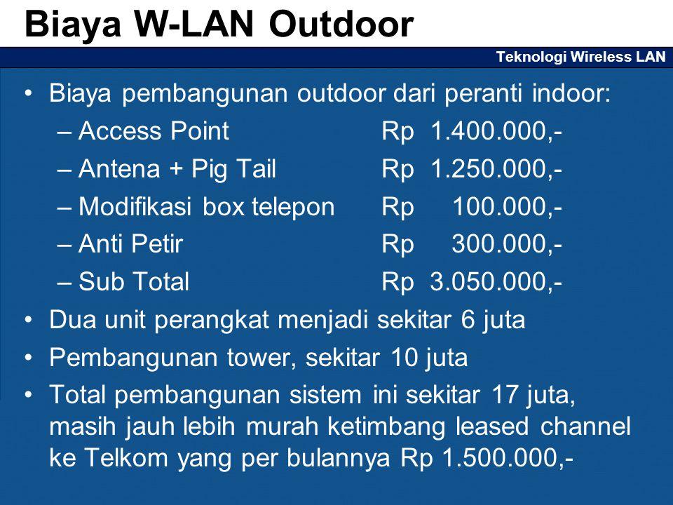 Teknologi Wireless LAN Biaya pembangunan outdoor dari peranti indoor: –Access Point Rp 1.400.000,- –Antena + Pig TailRp 1.250.000,- –Modifikasi box te