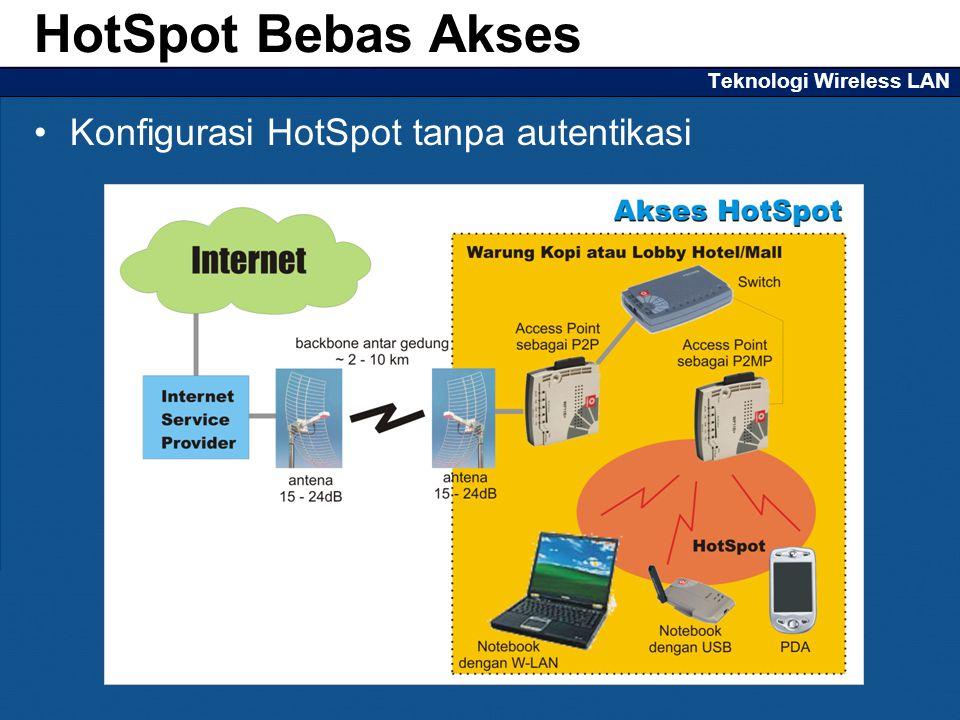Teknologi Wireless LAN Konfigurasi HotSpot tanpa autentikasi HotSpot Bebas Akses