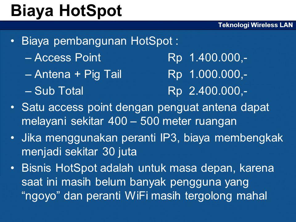 Teknologi Wireless LAN Biaya pembangunan HotSpot : –Access Point Rp 1.400.000,- –Antena + Pig TailRp 1.000.000,- –Sub TotalRp2.400.000,- Satu access p