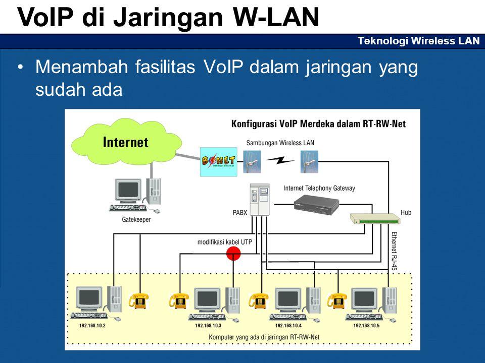 Teknologi Wireless LAN Menambah fasilitas VoIP dalam jaringan yang sudah ada VoIP di Jaringan W-LAN