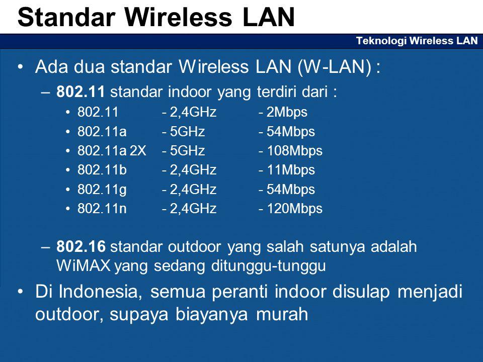 Teknologi Wireless LAN Ada dua standar Wireless LAN (W-LAN) : –802.11 standar indoor yang terdiri dari : 802.11 - 2,4GHz - 2Mbps 802.11a - 5GHz - 54Mb