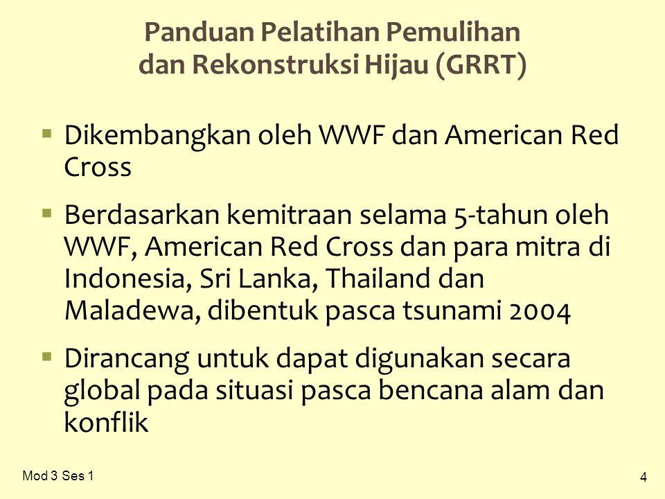4 Panduan Pelatihan Pemulihan dan Rekonstruksi Hijau (GRRT)  Dikembangkan oleh WWF dan American Red Cross  Berdasarkan kemitraan selama 5-tahun oleh WWF, American Red Cross dan para mitra di Indonesia, Sri Lanka, Thailand dan Maladewa, dibentuk pasca tsunami 2004  Dirancang untuk dapat digunakan secara global pada situasi pasca bencana alam dan konflik
