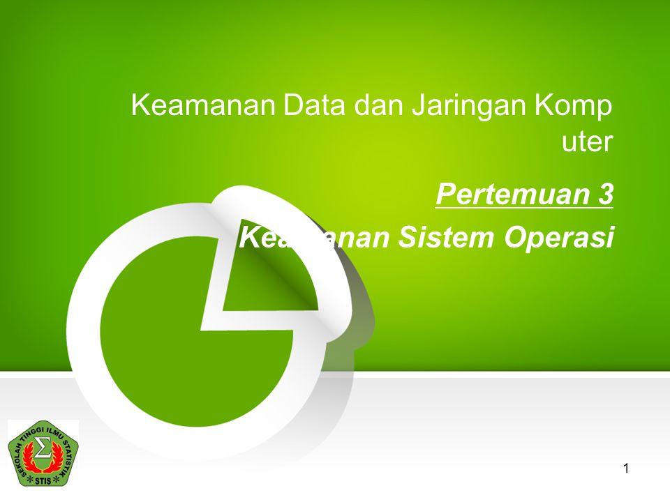 1 Keamanan Data dan Jaringan Komp uter Pertemuan 3 Keamanan Sistem Operasi