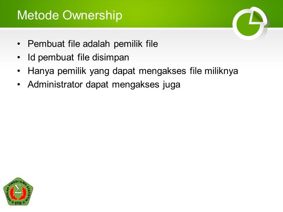 Metode Ownership Pembuat file adalah pemilik file Id pembuat file disimpan Hanya pemilik yang dapat mengakses file miliknya Administrator dapat mengak