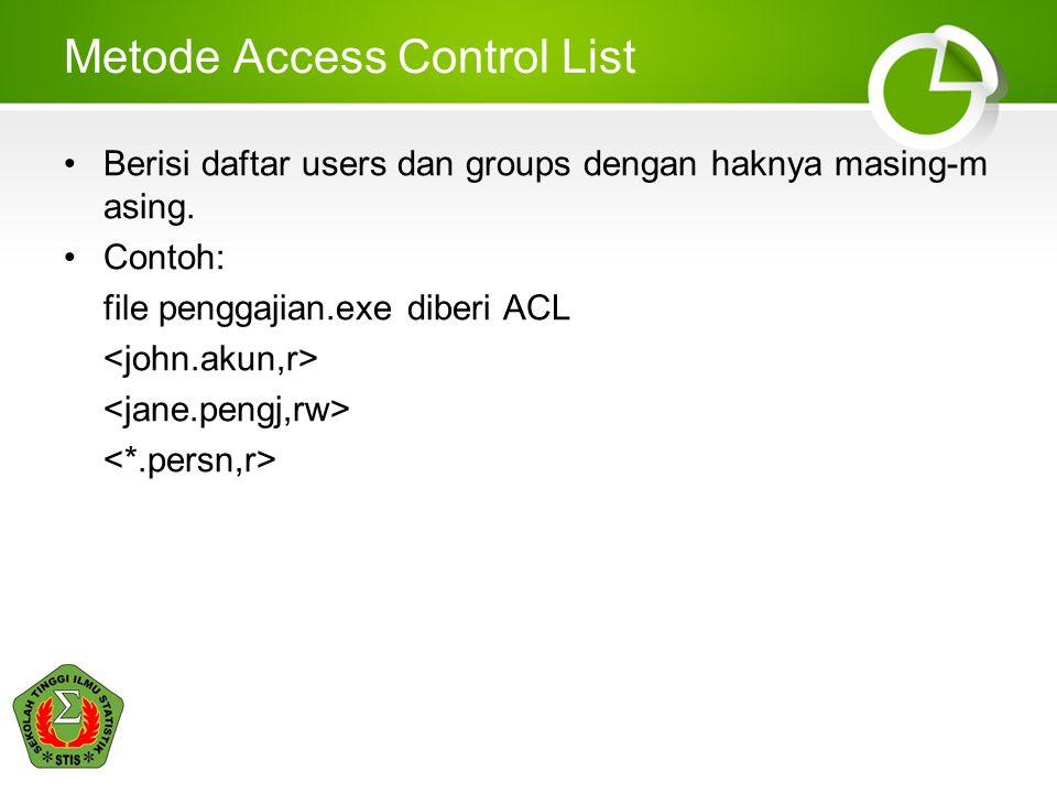 Metode Access Control List Berisi daftar users dan groups dengan haknya masing-m asing. Contoh: file penggajian.exe diberi ACL
