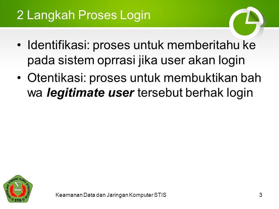 Keamanan Data dan Jaringan Komputer STIS3 2 Langkah Proses Login Identifikasi: proses untuk memberitahu ke pada sistem oprrasi jika user akan login Ot