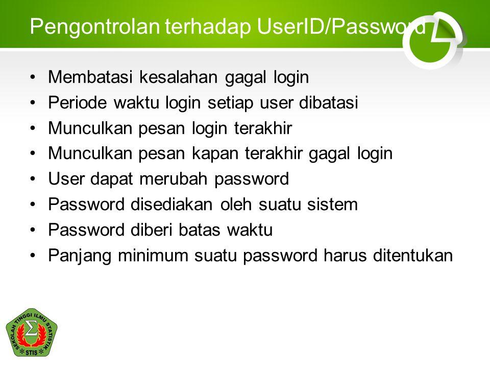 Pengontrolan terhadap UserID/Password Membatasi kesalahan gagal login Periode waktu login setiap user dibatasi Munculkan pesan login terakhir Munculka