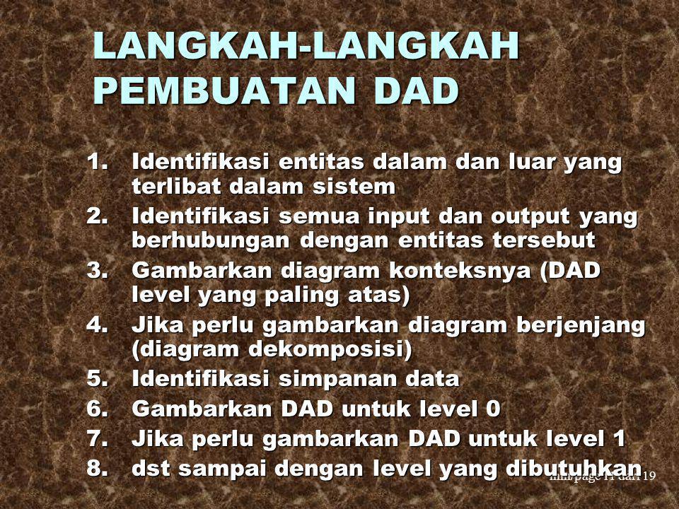 mm/page 11 dari 19 LANGKAH-LANGKAH PEMBUATAN DAD 1.Identifikasi entitas dalam dan luar yang terlibat dalam sistem 2.Identifikasi semua input dan outpu
