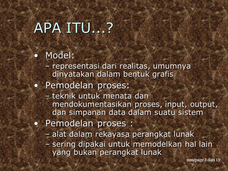 mm/page 3 dari 19 APA ITU...? Model: Model: –representasi dari realitas, umumnya dinyatakan dalam bentuk grafis Pemodelan proses: Pemodelan proses: –t