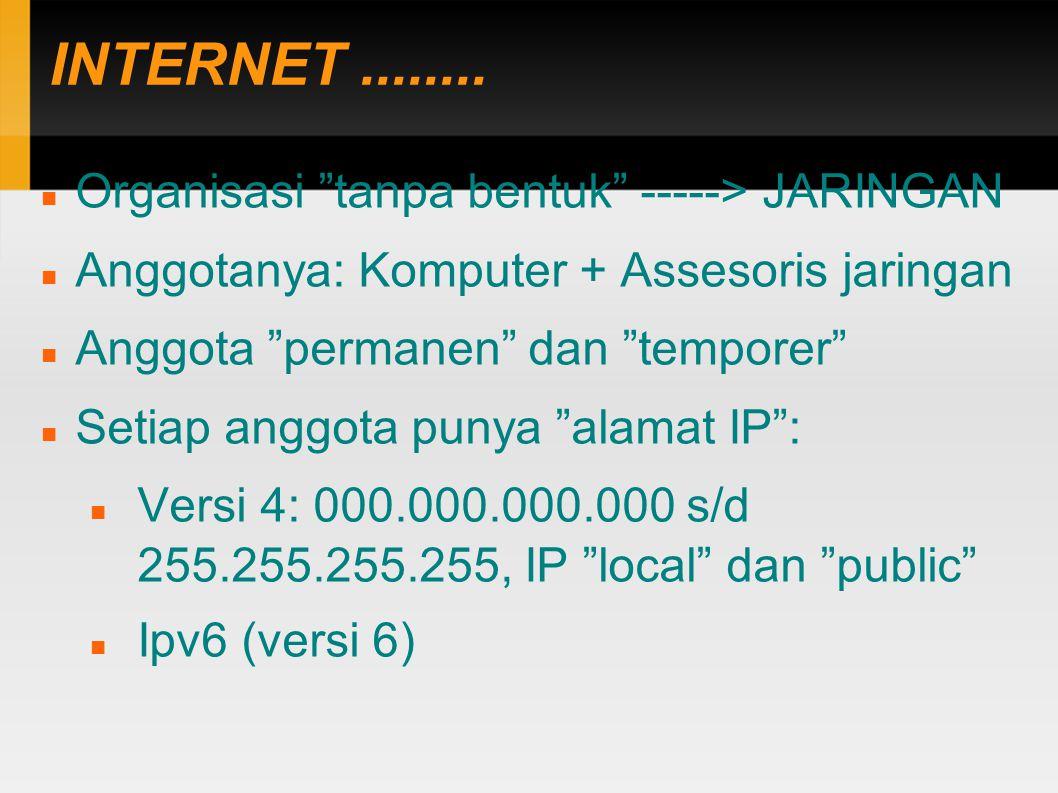 """INTERNET........ Organisasi """"tanpa bentuk"""" -----> JARINGAN Anggotanya: Komputer + Assesoris jaringan Anggota """"permanen"""" dan """"temporer"""" Setiap anggota"""