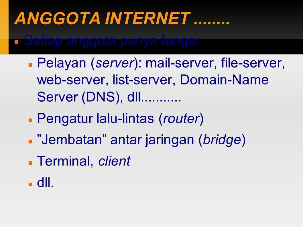 ANGGOTA INTERNET........ Setiap anggota punya fungsi: Pelayan (server): mail-server, file-server, web-server, list-server, Domain-Name Server (DNS), d