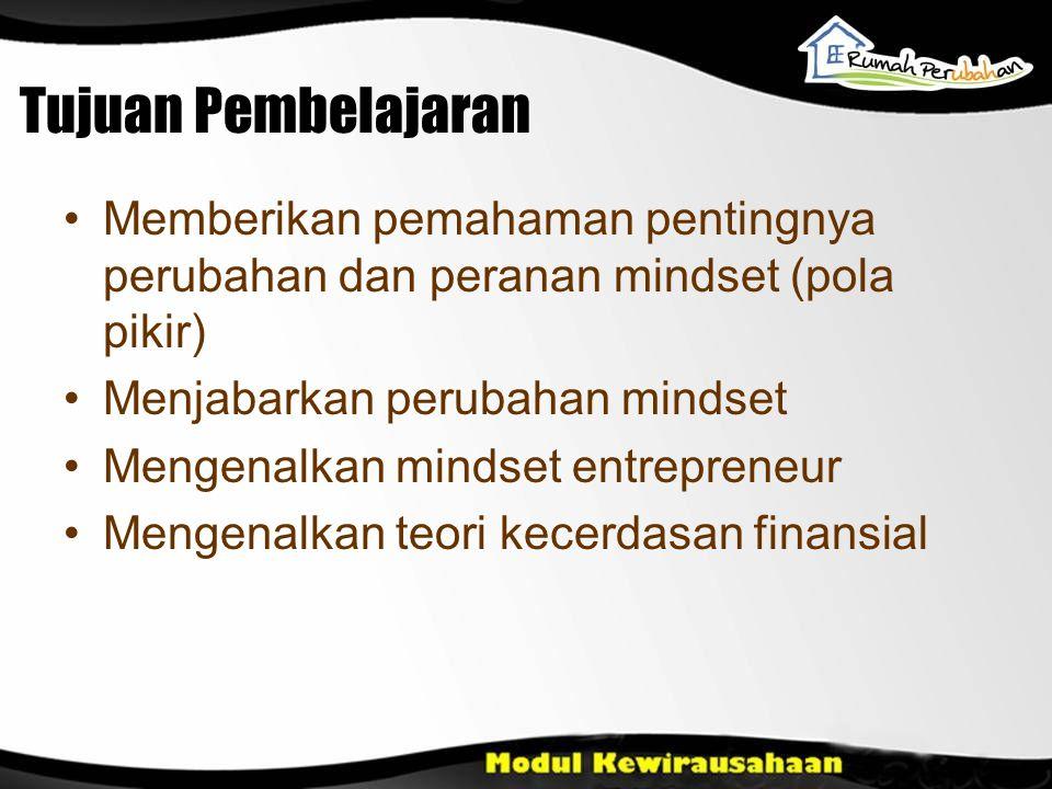 Tujuan Pembelajaran Memberikan pemahaman pentingnya perubahan dan peranan mindset (pola pikir) Menjabarkan perubahan mindset Mengenalkan mindset entre