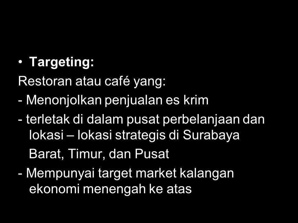 Targeting: Restoran atau café yang: - Menonjolkan penjualan es krim - terletak di dalam pusat perbelanjaan dan lokasi – lokasi strategis di Surabaya Barat, Timur, dan Pusat - Mempunyai target market kalangan ekonomi menengah ke atas