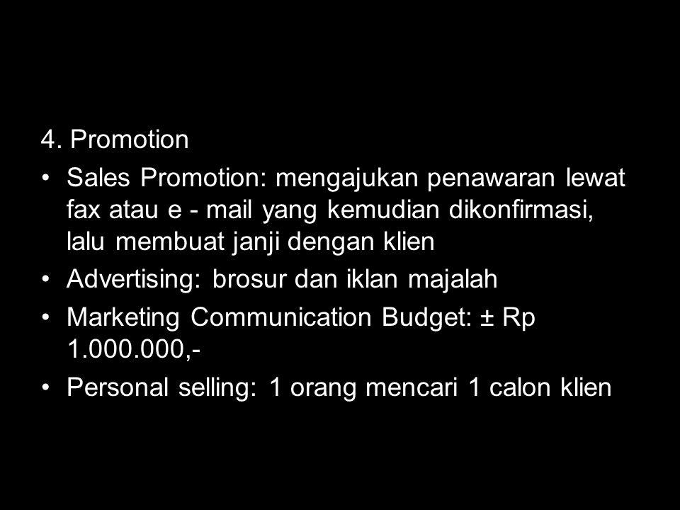 4. Promotion Sales Promotion: mengajukan penawaran lewat fax atau e - mail yang kemudian dikonfirmasi, lalu membuat janji dengan klien Advertising: br