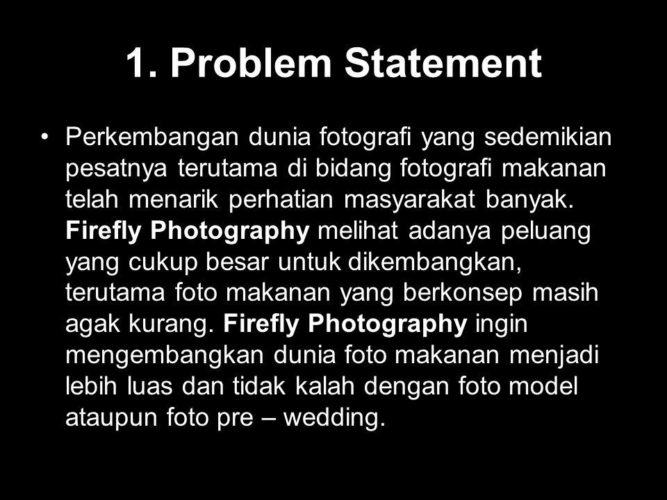1. Problem Statement Perkembangan dunia fotografi yang sedemikian pesatnya terutama di bidang fotografi makanan telah menarik perhatian masyarakat ban