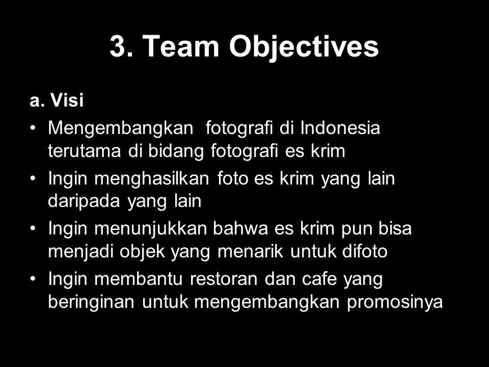 3. Team Objectives a. Visi Mengembangkan fotografi di Indonesia terutama di bidang fotografi es krim Ingin menghasilkan foto es krim yang lain daripad