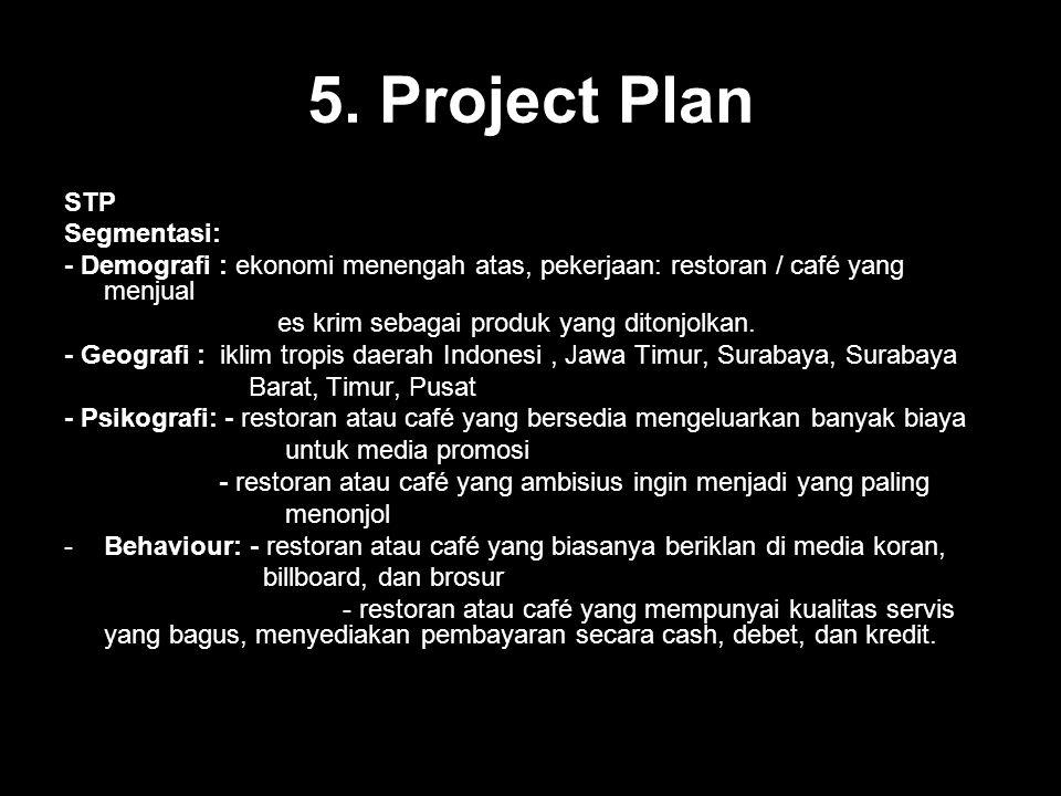 5. Project Plan STP Segmentasi: - Demografi : ekonomi menengah atas, pekerjaan: restoran / café yang menjual es krim sebagai produk yang ditonjolkan.