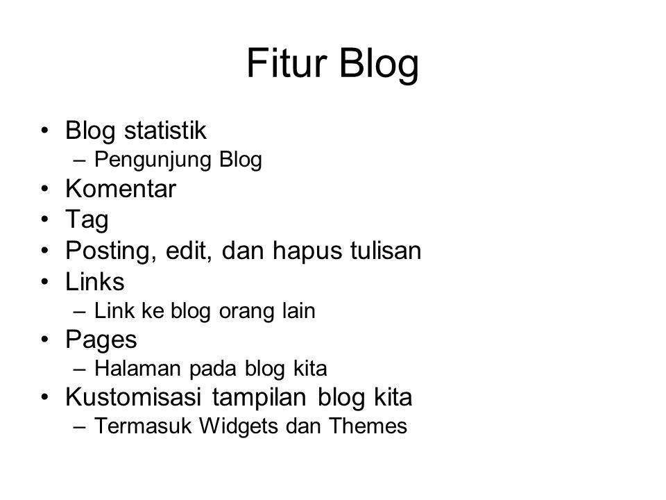 Fitur Blog Blog statistik –Pengunjung Blog Komentar Tag Posting, edit, dan hapus tulisan Links –Link ke blog orang lain Pages –Halaman pada blog kita Kustomisasi tampilan blog kita –Termasuk Widgets dan Themes