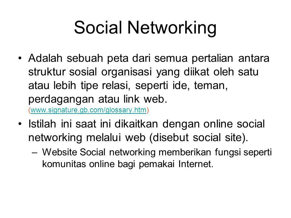 Social Networking Adalah sebuah peta dari semua pertalian antara struktur sosial organisasi yang diikat oleh satu atau lebih tipe relasi, seperti ide, teman, perdagangan atau link web.