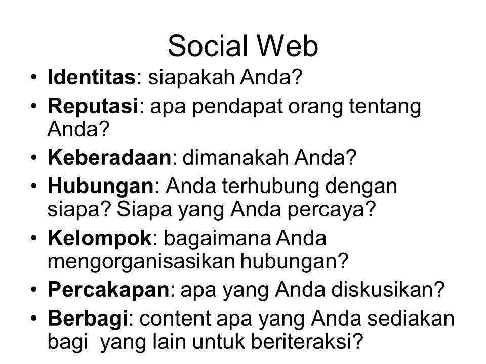 Social Web Identitas: siapakah Anda. Reputasi: apa pendapat orang tentang Anda.