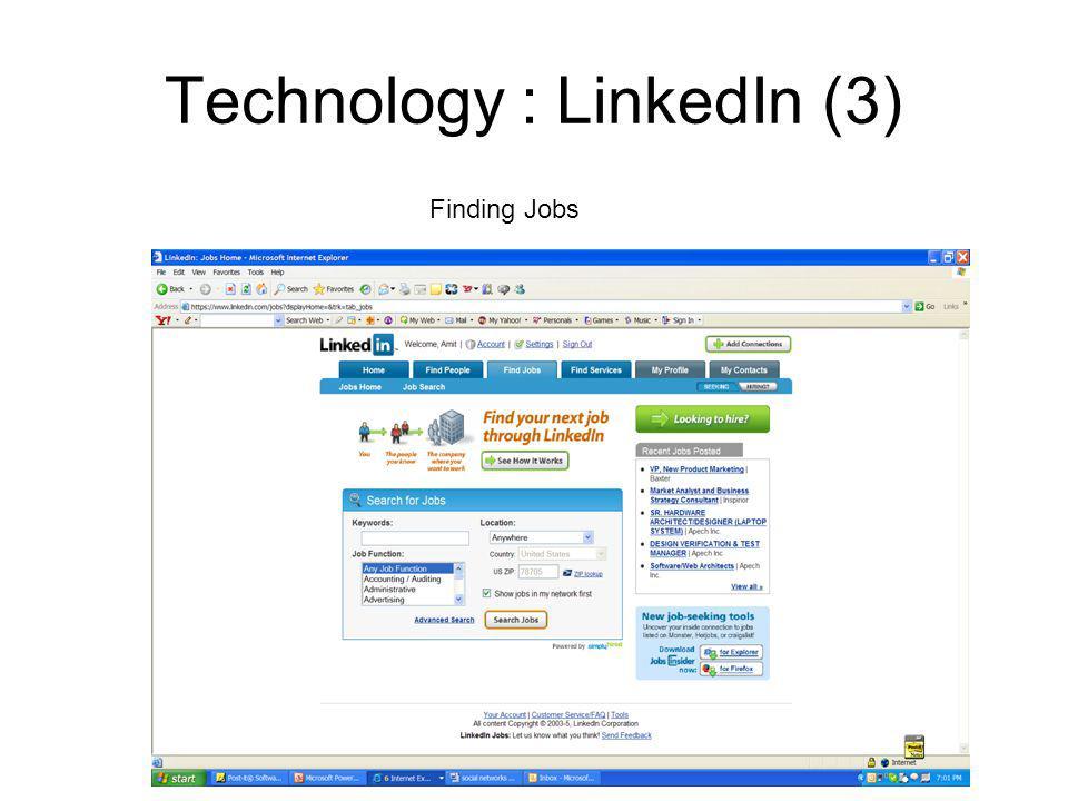 Technology : LinkedIn (3) Finding Jobs