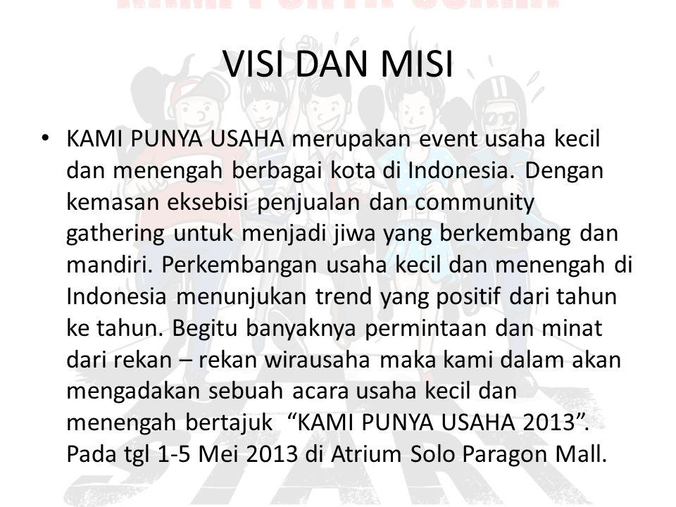 VISI DAN MISI KAMI PUNYA USAHA merupakan event usaha kecil dan menengah berbagai kota di Indonesia. Dengan kemasan eksebisi penjualan dan community ga