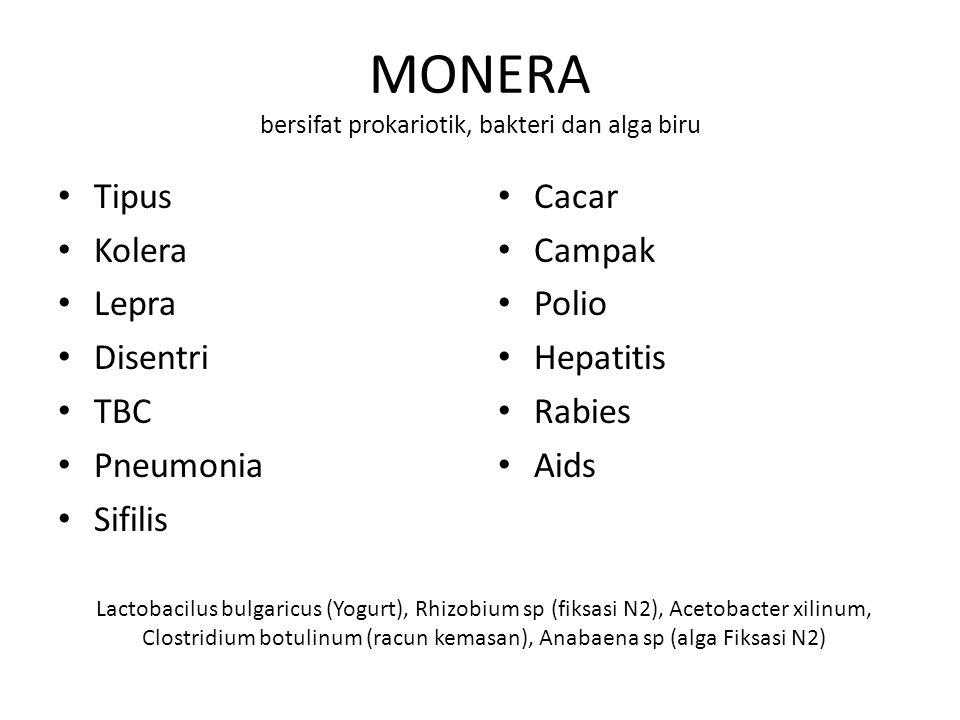 MONERA bersifat prokariotik, bakteri dan alga biru Tipus Kolera Lepra Disentri TBC Pneumonia Sifilis Cacar Campak Polio Hepatitis Rabies Aids Lactobac