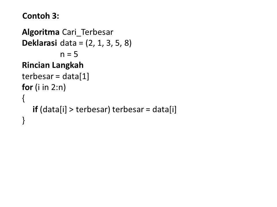Contoh 3: Algoritma Cari_Terbesar Deklarasi data = (2, 1, 3, 5, 8) n = 5 Rincian Langkah terbesar = data[1] for (i in 2:n) { if (data[i] > terbesar) t