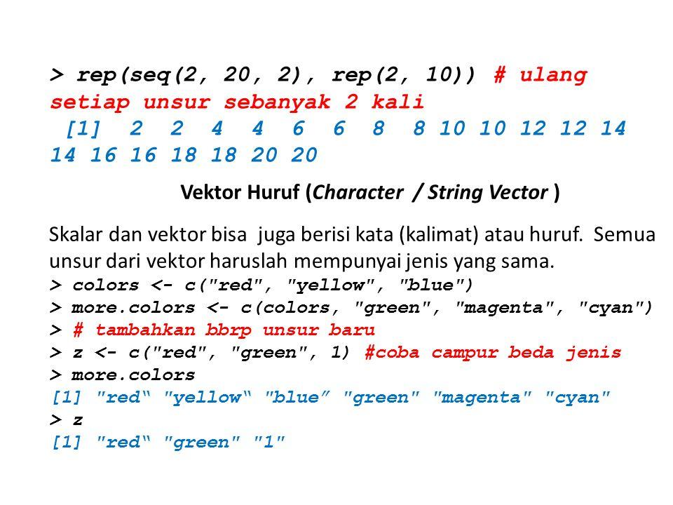 > rep(seq(2, 20, 2), rep(2, 10)) # ulang setiap unsur sebanyak 2 kali [1] 2 2 4 4 6 6 8 8 10 10 12 12 14 14 16 16 18 18 20 20 Vektor Huruf (Character