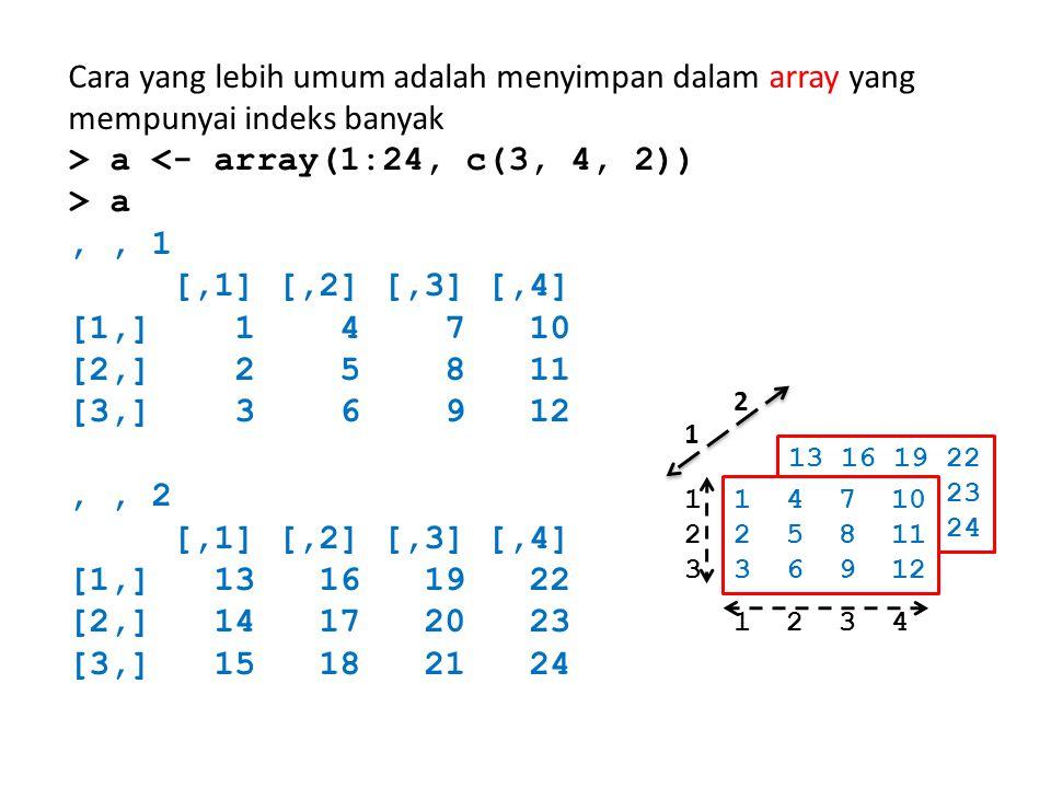 Cara yang lebih umum adalah menyimpan dalam array yang mempunyai indeks banyak > a <- array(1:24, c(3, 4, 2)) > a,, 1 [,1] [,2] [,3] [,4] [1,] 1 4 7 1