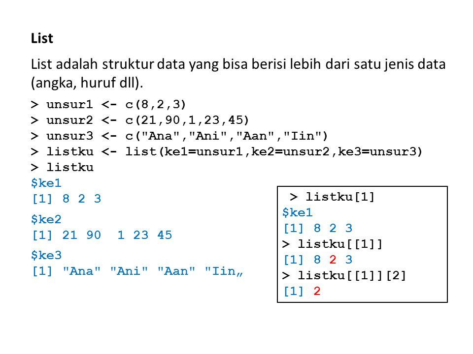 List List adalah struktur data yang bisa berisi lebih dari satu jenis data (angka, huruf dll). > unsur1 <- c(8,2,3) > unsur2 <- c(21,90,1,23,45) > uns