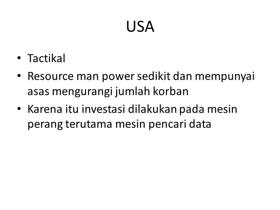 USA Tactikal Resource man power sedikit dan mempunyai asas mengurangi jumlah korban Karena itu investasi dilakukan pada mesin perang terutama mesin pencari data