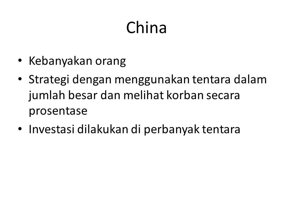China Kebanyakan orang Strategi dengan menggunakan tentara dalam jumlah besar dan melihat korban secara prosentase Investasi dilakukan di perbanyak tentara