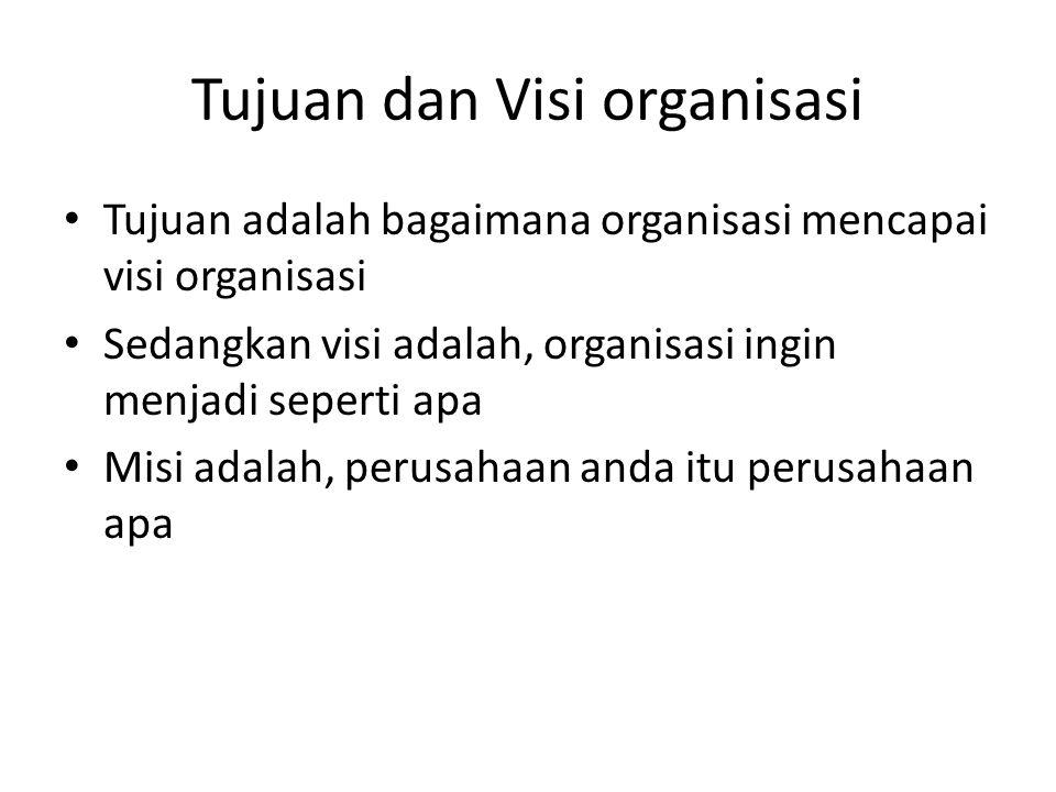 Tujuan dan Visi organisasi Tujuan adalah bagaimana organisasi mencapai visi organisasi Sedangkan visi adalah, organisasi ingin menjadi seperti apa Misi adalah, perusahaan anda itu perusahaan apa