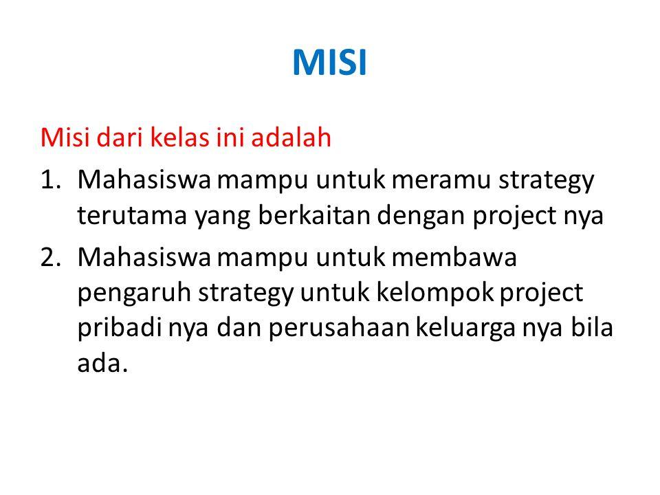 MISI Misi dari kelas ini adalah 1.Mahasiswa mampu untuk meramu strategy terutama yang berkaitan dengan project nya 2.Mahasiswa mampu untuk membawa pengaruh strategy untuk kelompok project pribadi nya dan perusahaan keluarga nya bila ada.