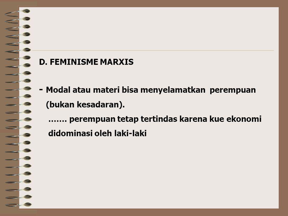 C. FEMINISME RADIKAL - Menentang feminis liberal karena: - Ada wanita sekolah tinggi, namun tetap berpikir dengan ideologi patriarki. - Dalam kondisi