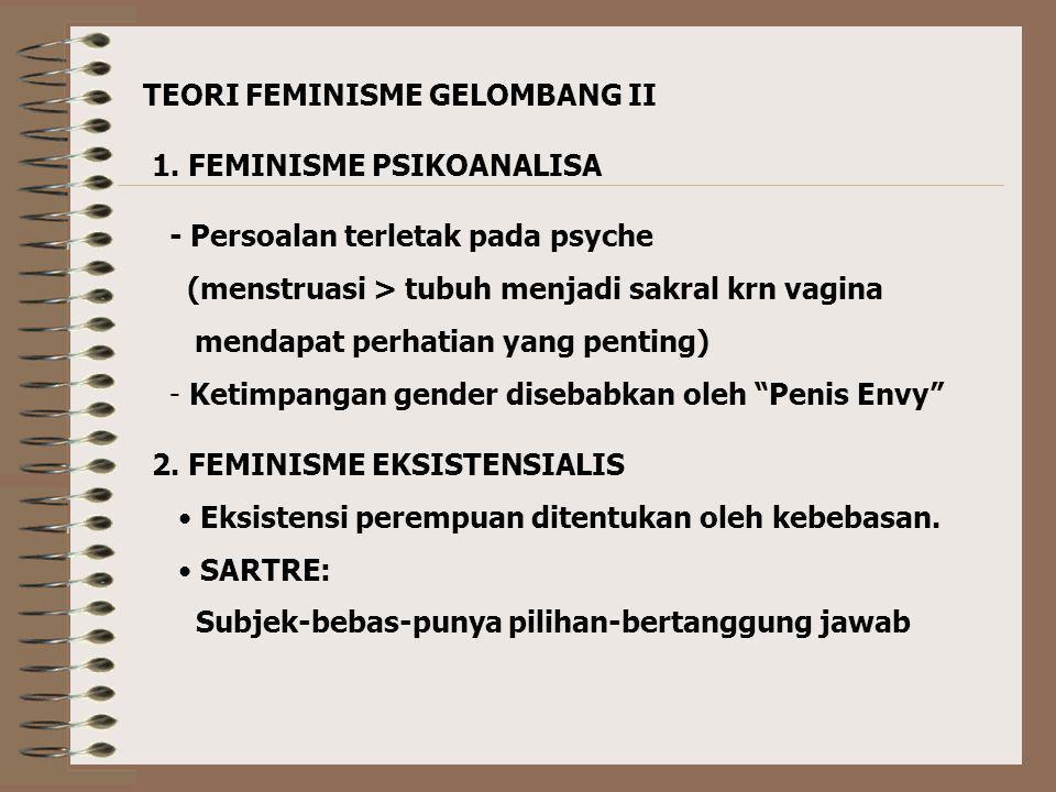 D. FEMINISME MARXIS - Modal atau materi bisa menyelamatkan perempuan (bukan kesadaran). ……. perempuan tetap tertindas karena kue ekonomi didominasi ol