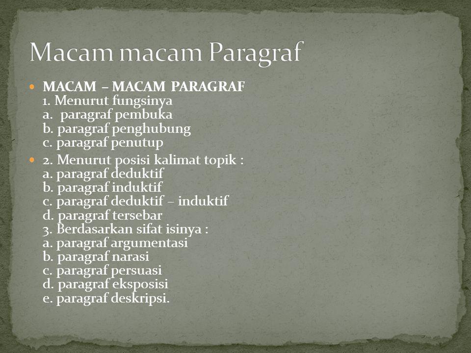 MACAM – MACAM PARAGRAF 1. Menurut fungsinya a. paragraf pembuka b. paragraf penghubung c. paragraf penutup 2. Menurut posisi kalimat topik : a. paragr