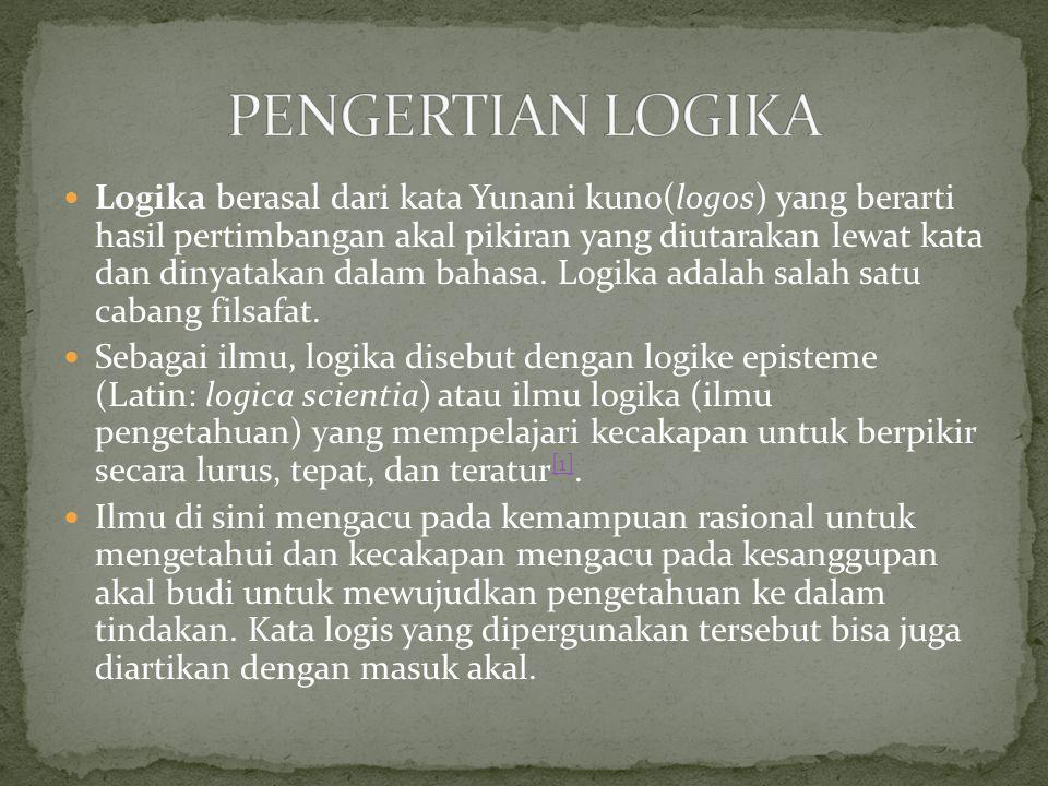 Logika berasal dari kata Yunani kuno(logos) yang berarti hasil pertimbangan akal pikiran yang diutarakan lewat kata dan dinyatakan dalam bahasa. Logik