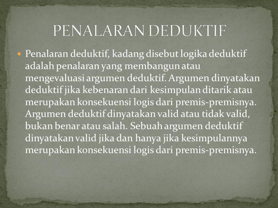 Penalaran deduktif, kadang disebut logika deduktif adalah penalaran yang membangun atau mengevaluasi argumen deduktif. Argumen dinyatakan deduktif jik
