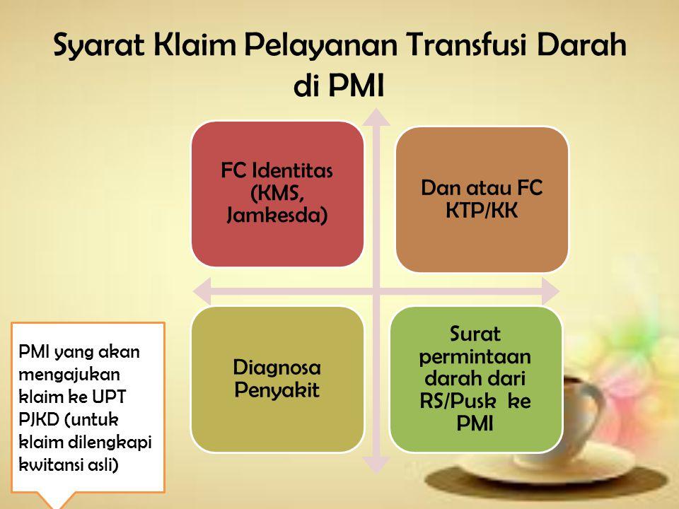 Syarat klaim Pelayanan Hemodialisa Surat rujukan dari Puskesmas Surat Keterangan Diagnosa dokter RS dan Jadwal HD FC Identitas Jamkes (KMS/Jamkesda) Dan atau FC KTP/KK Jaminan HD Rp.