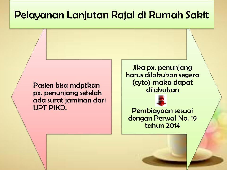 Pasien bisa mdptkan px.penunjang setelah ada surat jaminan dari UPT PJKD.