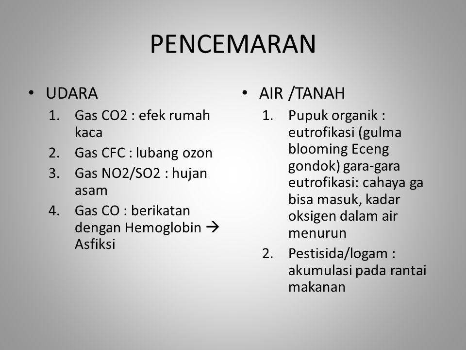 PENCEMARAN UDARA 1.Gas CO2 : efek rumah kaca 2.Gas CFC : lubang ozon 3.Gas NO2/SO2 : hujan asam 4.Gas CO : berikatan dengan Hemoglobin  Asfiksi AIR /